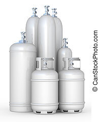 Cylinders with the compressed gases on a white background