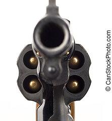 cylindr, kalibr, ostrý, dělo, revolver, 38, naložený, barel...