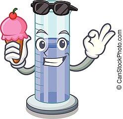 cylindre, contour, caractère, glace, gradué, icône, crème