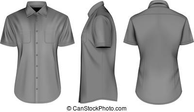cylindre court, mens, noir, chemises, ouvert, collier