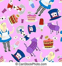 cylindre, femme, magie, pays merveilles, pattern., alice, graisse, hatter., cheshire, cat., lapin, hat., forme croûte morceau, potion, fou