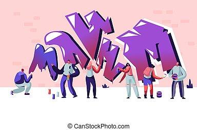 cylindre, gens, ados, wall., rue, graffiti, activité, style de vie, mode, jeune, créatif, peinture, passe-temps, brique, urbain, adolescent, plat, hommes, illustration, dessin animé, femmes, artiste, vecteur, peinture, dessin