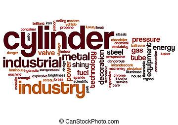 cylindre, mot, nuage