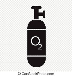 cylindre, oxygène, icône