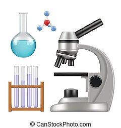 cylindre, scientifique, pipette, verre, science, vases bec, chimique, réaliste, microscope, vecteur, equipment., articles, laboratoire, tubes
