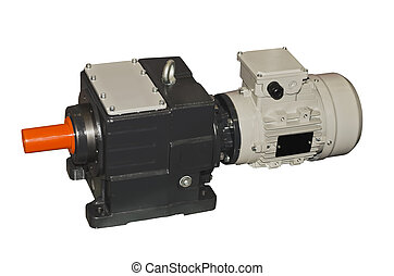 Cylindrical gear motor isolated on a white background