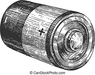 Cylindrical shape alkaline battery - Vector illustration of...