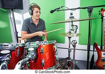 cymbale, enregistrement, batteur, studio, mâle, jouer