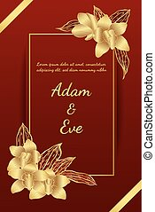 Cymbidium orchids card by hand drawing. Flower wedding card on red background.