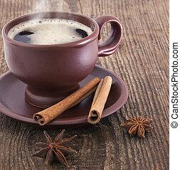cynamon, anyż, filiżanka, kawa