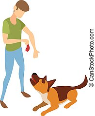 Cynologist give meat to dog icon, isometric style