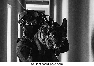Cynologist. Special Forces with a trained dog