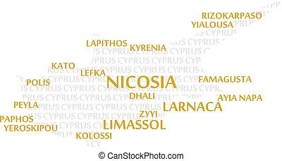 cypr, słowo, chmura, mapa
