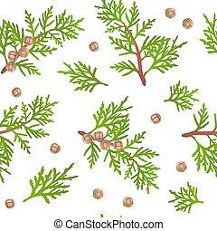 Cypress branch pattern - Cypress branch seamless pattern