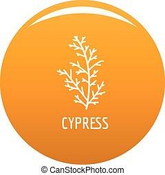 Cypress leaf icon vector orange - Cypress leaf icon. Simple ...