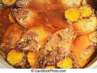 cyprinidae boiled with salt, thai food