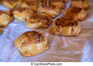 Cypriot easter cheese pastries called flaounes ready to be ...