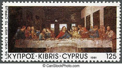 "CYPRUS - 1981: shows ""The Last Supper"", by Da Vinci, Da ..."