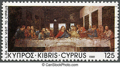 "CYPRUS - 1981: shows ""The Last Supper"", by Da Vinci, Da..."