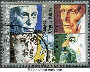 CYPRUS - 1988: shows Jawaharlal Nehru, Tito, Gamal Abdel...