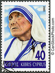 CYPRUS - 2002: shows portrait of Mother Teresa (1910-1997) -...