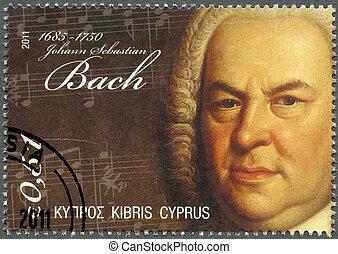 CYPRUS - CIRCA 2011 : A stamp printed in Cyprus shows Johann Sebastian Bach (1685-1750), circa 2011