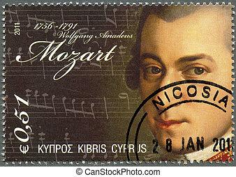 CYPRUS - CIRCA 2011 : A stamp printed in Cyprus shows Wolfgang Amadeus Mozart (1756-1791), circa 2011