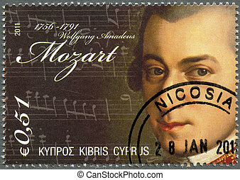 CYPRUS - 2011 : shows Wolfgang Amadeus Mozart (1756-1791) -...