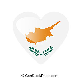 Cyprus 3D heart shaped flag