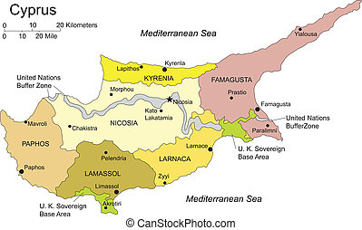 Cyprus, editable vector map broken down by administrative districts includes surrounding countries, in color with cities, district names and capitals, all objects editable. Great for building sales and marketing territory maps, illustrations, web graphics and graphic design.
