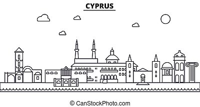 Cyprus architecture line skyline illustration. Linear vector cityscape with famous landmarks, city sights, design icons. Landscape wtih editable strokes