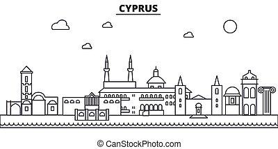 Cyprus architecture line skyline illustration. Linear vector...