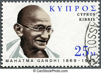 CYPRUS - CIRCA 1970: A stamp printed in Cyprus shows portrait of Mohandas Karamchand Gandhi (1869-1948), birth centenary, leader in India's struggle for independence, circa 1970