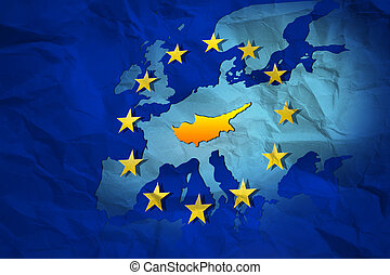 Cyprus contour at the creased map of European Union -...