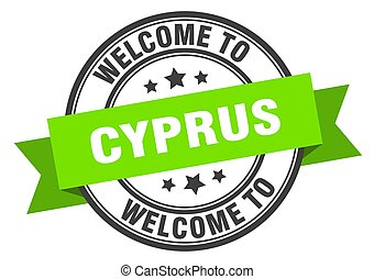 CYPRUS - Cyprus stamp. welcome to Cyprus green sign