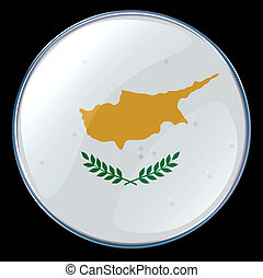 Cyprus Flag Button, isolated on black background.
