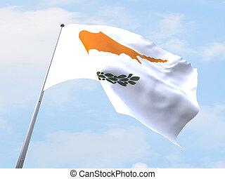 Cyprus flag flying on clear sky.