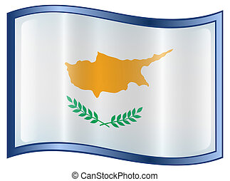 Cyprus Flag Icon, isolated on white background.