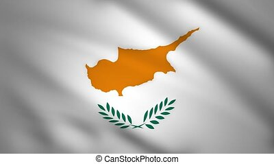 Cyprus flag moves in the wind