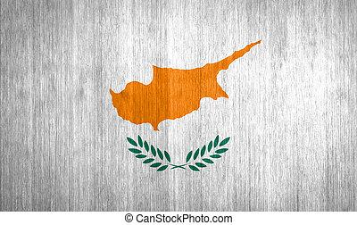 Cyprus Flag on wood background