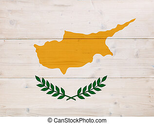 Cyprus flag overlay on wooden background. 3d illustration