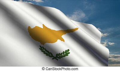 Cyprus Flag waving in wind with clouds in background
