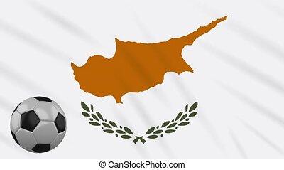 Cyprus flag waving and football rotates, loop - Republic of...