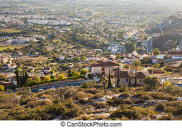 Cyprus island, top view. Houses roofs