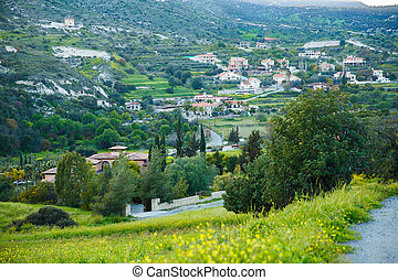 Cyprus landscape with mountains and village.