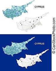 Cyprus map in geometric polygonal