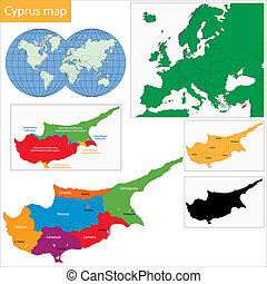 Cyprus map - Map of administrative divisions of Cyprus with ...