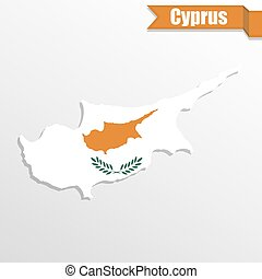 Cyprus map with flag inside and ribbon