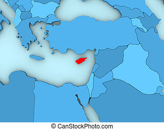 Cyprus on 3D map