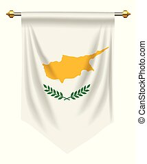 Cyprus Pennant - Cyprus flag or pennant isolated on white